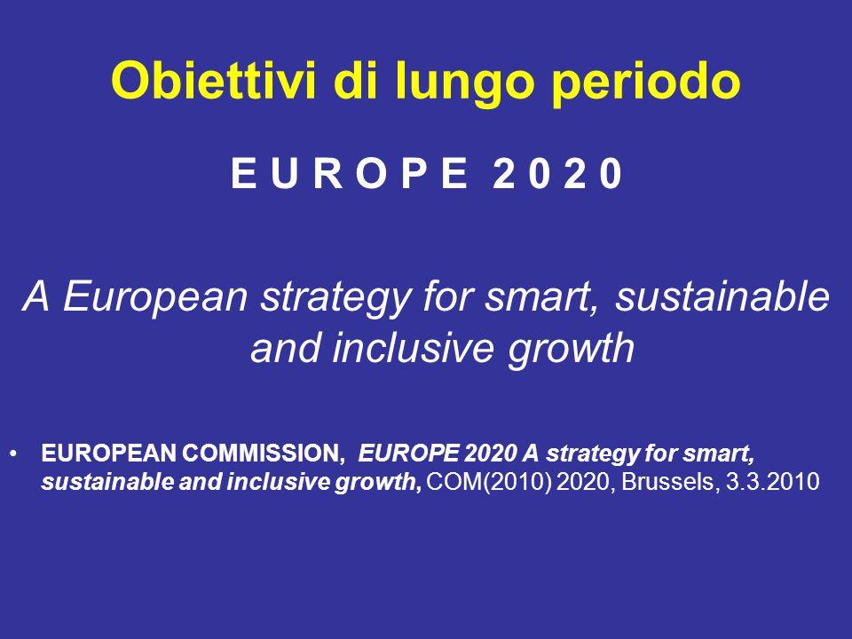 Obiettivi di lungo periodo E U R O P E 2 0 2 0 A European strategy for smart, sustainable and inclusive growth EUROPEAN COMMISSION, EUROPE 2020 A stra