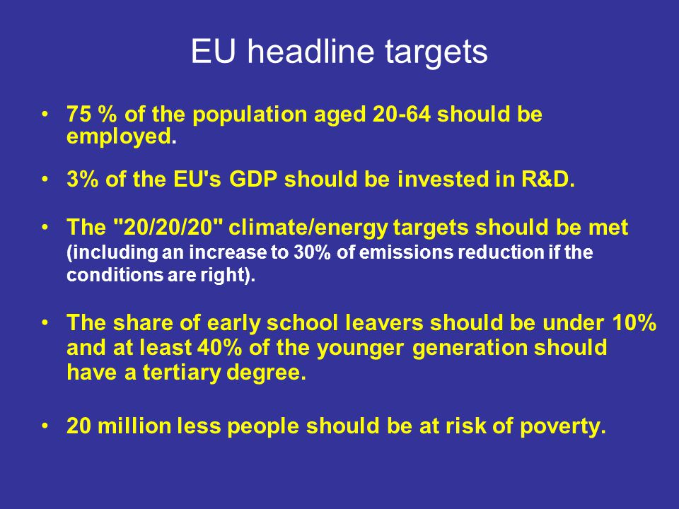 EU headline targets 75 % of the population aged 20-64 should be employed. 3% of the EU's GDP should be invested in R&D. The