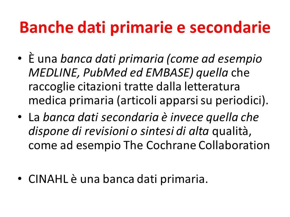 Banche dati primarie e secondarie È una banca dati primaria (come ad esempio MEDLINE, PubMed ed EMBASE) quella che raccoglie citazioni tratte dalla letteratura medica primaria (articoli apparsi su periodici).