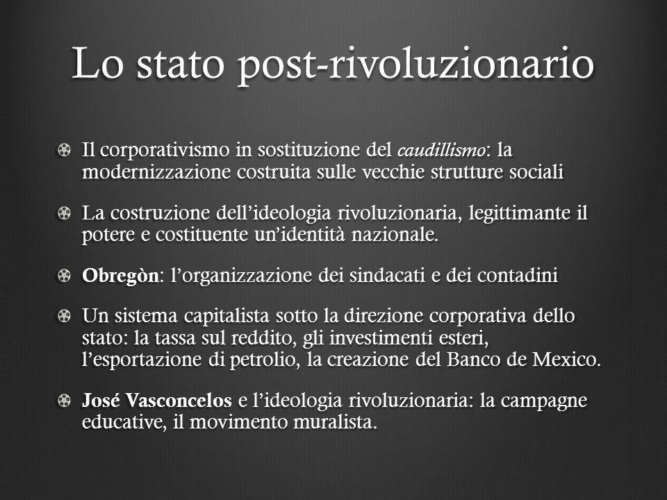Lo stato post-rivoluzionario Il corporativismo in sostituzione del caudillismo : la modernizzazione costruita sulle vecchie strutture sociali La costruzione dell'ideologia rivoluzionaria, legittimante il potere e costituente un'identità nazionale.