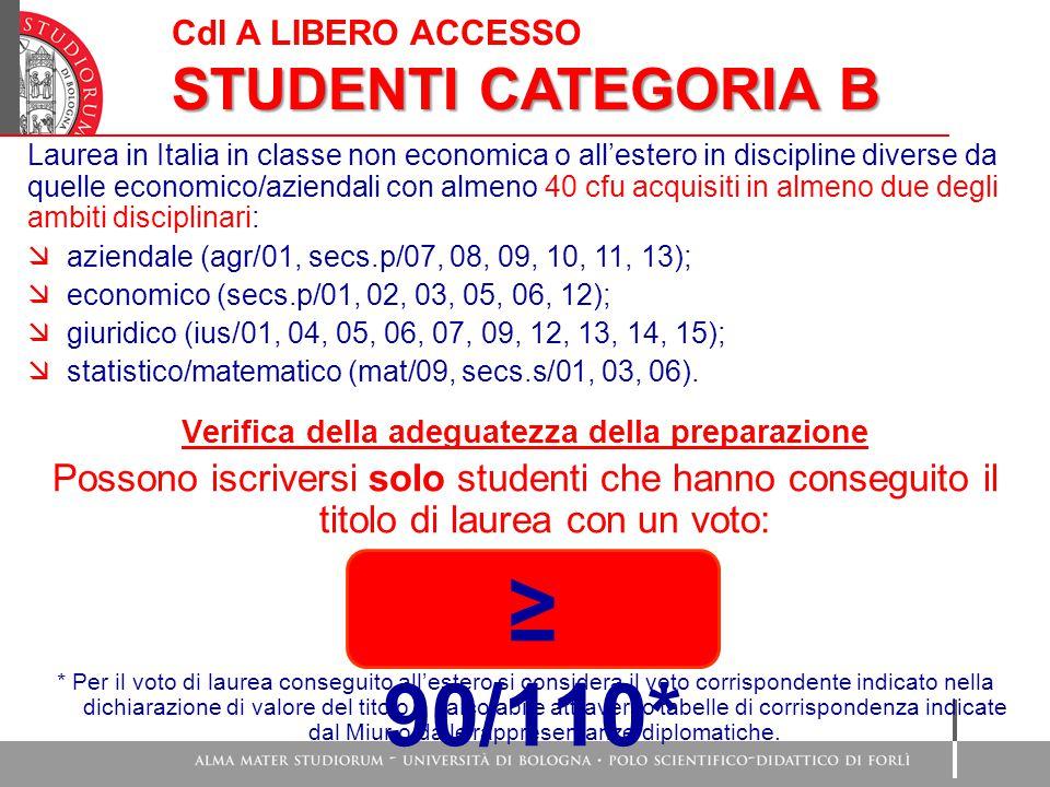 Cdl A LIBERO ACCESSO STUDENTI CATEGORIA B Laurea in Italia in classe non economica o all'estero in discipline diverse da quelle economico/aziendali co