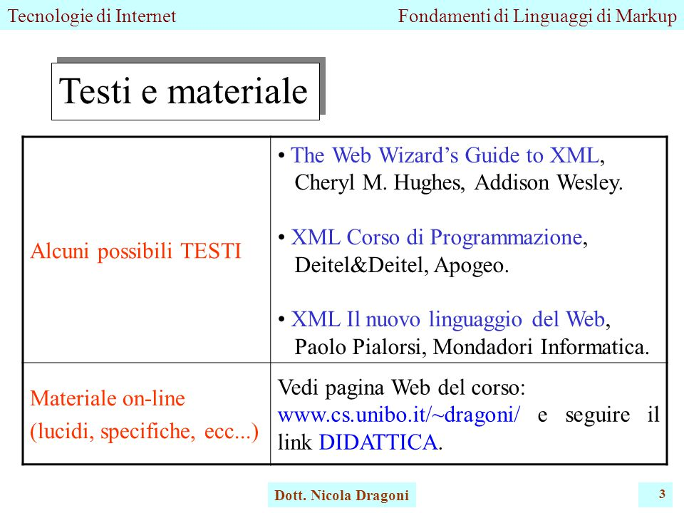 Tecnologie di InternetFondamenti di Linguaggi di Markup Dott. Nicola Dragoni 3 Testi e materiale Alcuni possibili TESTI The Web Wizard's Guide to XML,