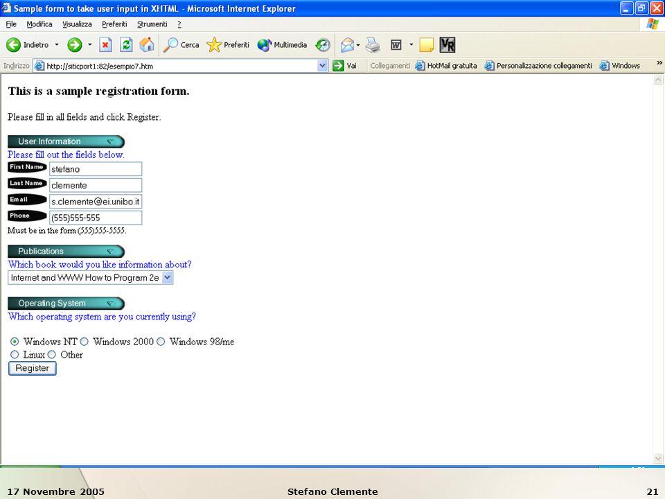 17 Novembre 2005Stefano Clemente21