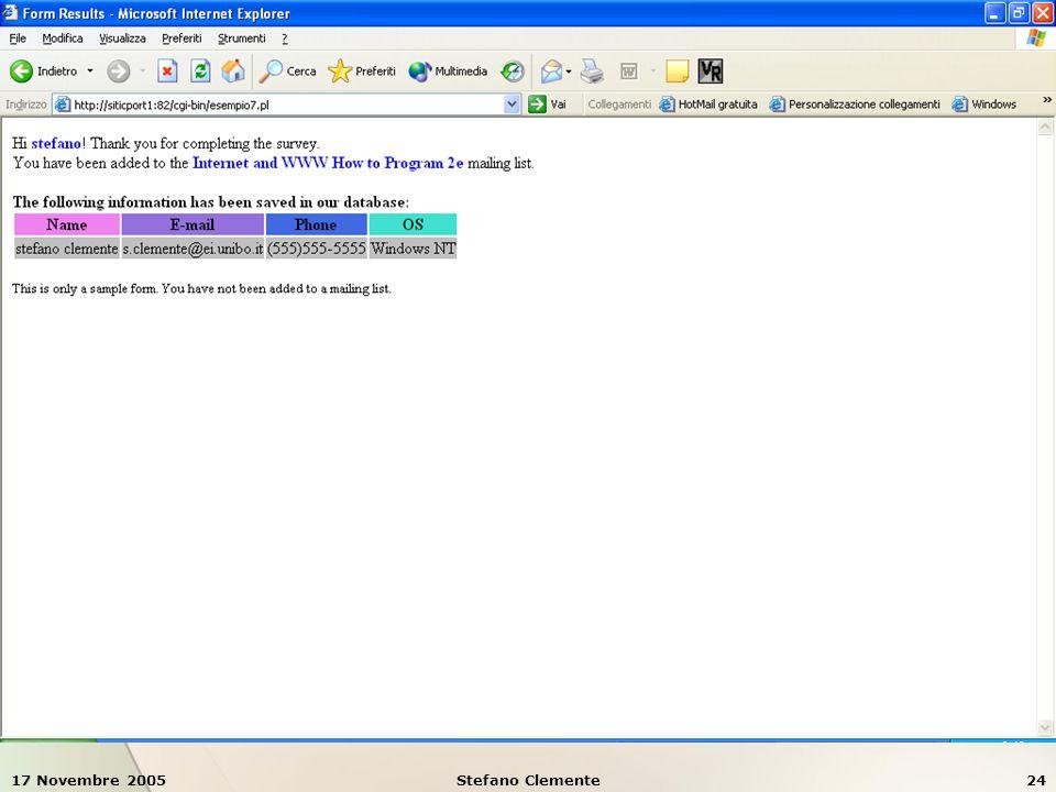 17 Novembre 2005Stefano Clemente24 Esempio 7: form e validazione dati