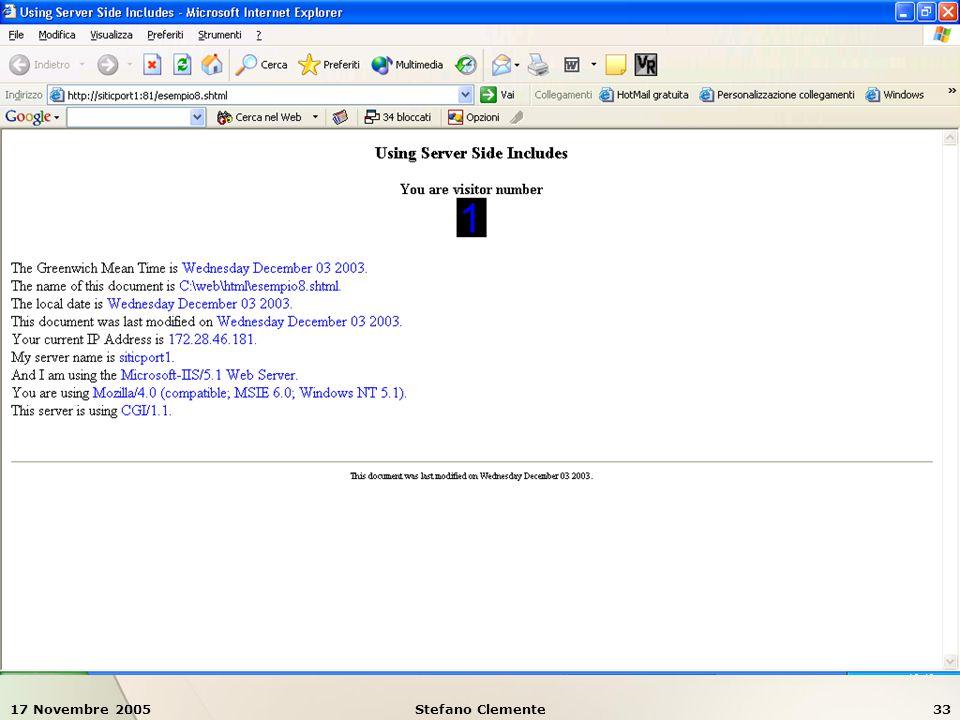 17 Novembre 2005Stefano Clemente33 Esempio 8: SSI