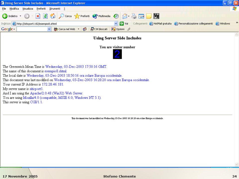 17 Novembre 2005Stefano Clemente34 Esempio 8: SSI