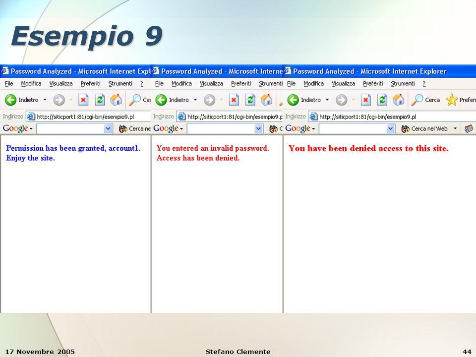 17 Novembre 2005Stefano Clemente44 Esempio 9