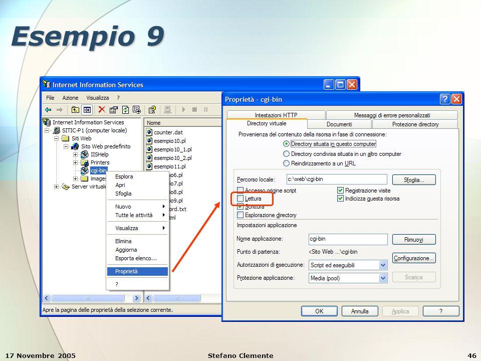 17 Novembre 2005Stefano Clemente46 Esempio 9