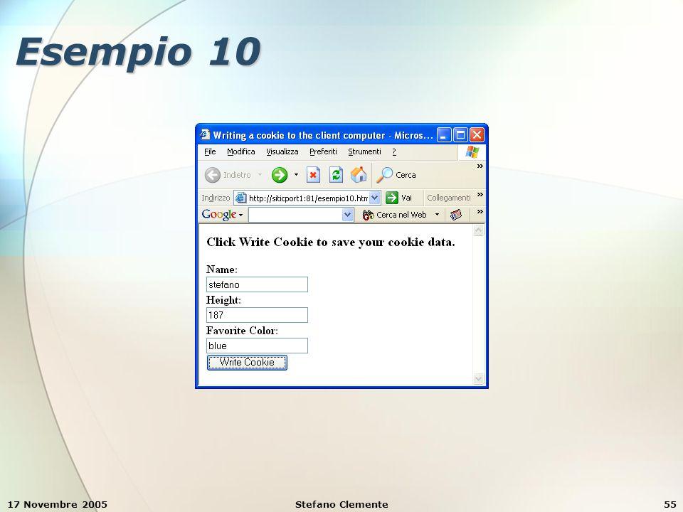 17 Novembre 2005Stefano Clemente55 Esempio 10