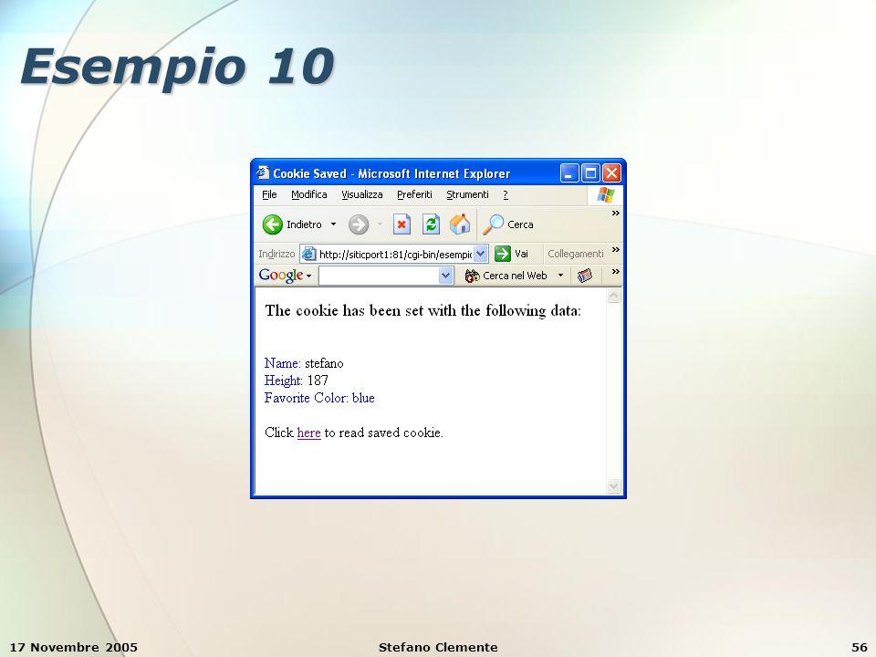 17 Novembre 2005Stefano Clemente56 Esempio 10