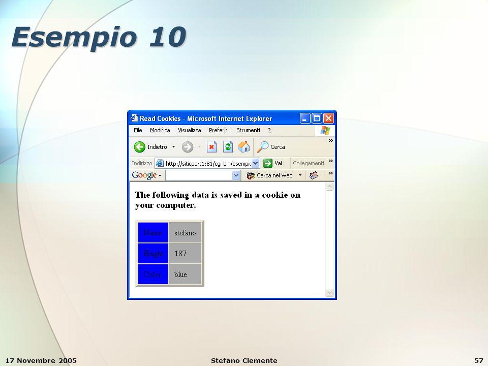 17 Novembre 2005Stefano Clemente57 Esempio 10