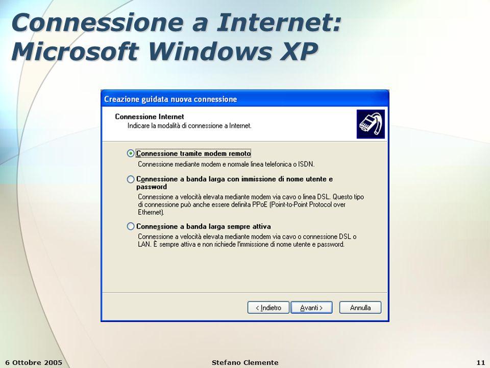 6 Ottobre 2005Stefano Clemente11 Connessione a Internet: Microsoft Windows XP