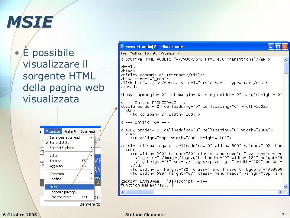 6 Ottobre 2005Stefano Clemente31 MSIE È possibile visualizzare il sorgente HTML della pagina web visualizzata