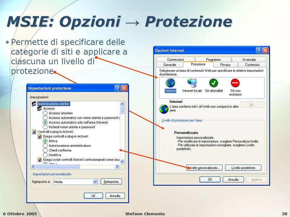 6 Ottobre 2005Stefano Clemente38 MSIE: Opzioni → Protezione Permette di specificare delle categorie di siti e applicare a ciascuna un livello di protezione