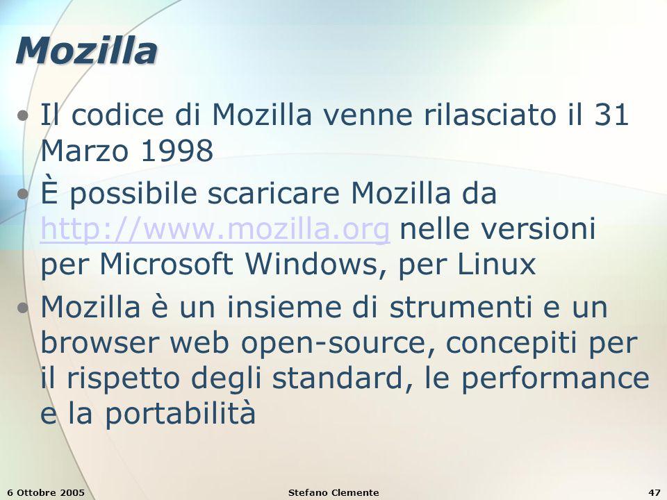 6 Ottobre 2005Stefano Clemente47 Mozilla Il codice di Mozilla venne rilasciato il 31 Marzo 1998 È possibile scaricare Mozilla da http://www.mozilla.org nelle versioni per Microsoft Windows, per Linux http://www.mozilla.org Mozilla è un insieme di strumenti e un browser web open-source, concepiti per il rispetto degli standard, le performance e la portabilità