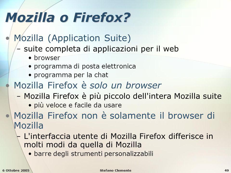 6 Ottobre 2005Stefano Clemente49 Mozilla o Firefox.