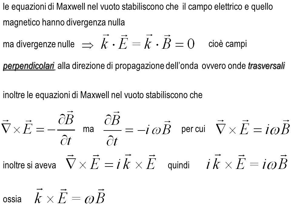 perpendicolari perpendicolari alla direzione di propagazione dell'onda ma divergenze nulle le equazioni di Maxwell nel vuoto stabiliscono che inoltre le equazioni di Maxwell nel vuoto stabiliscono che magnetico hanno divergenza nulla trasversali ovvero onde trasversali il campo elettrico e quello cioè campi per cuima inoltre si avevaquindi ossia