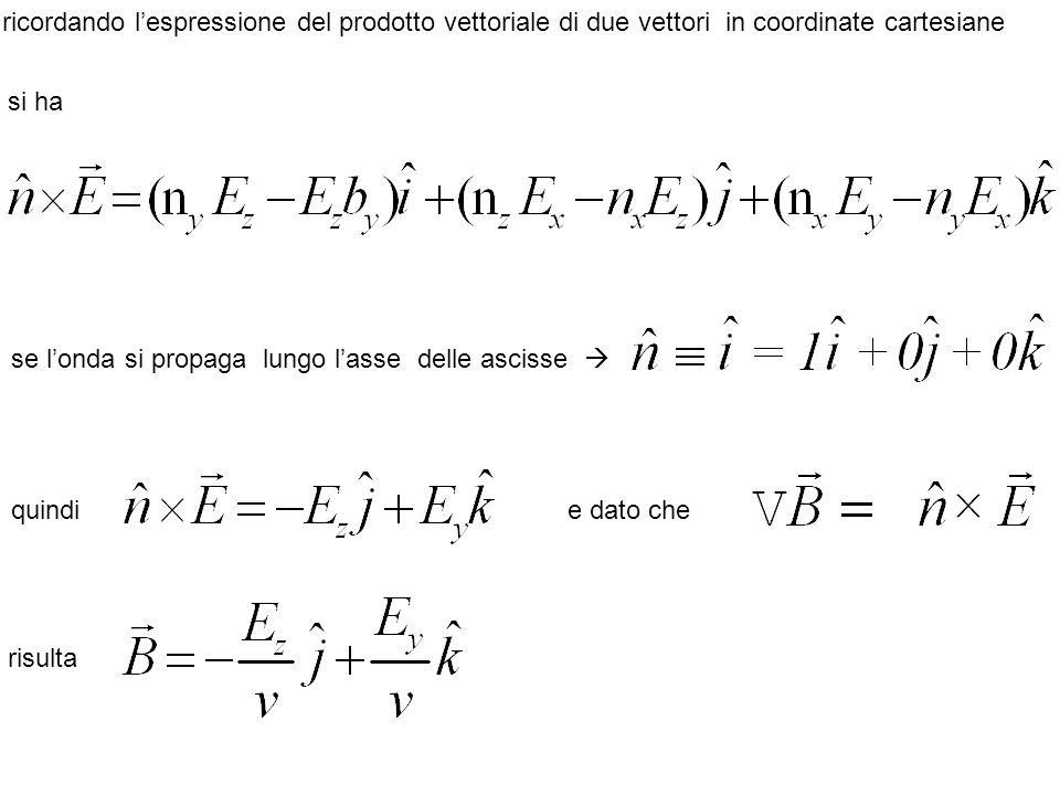 ricordando l'espressione del prodotto vettoriale di due vettori in coordinate cartesiane si ha se l'onda si propaga lungo l'asse delle ascisse  e dato che risulta quindi