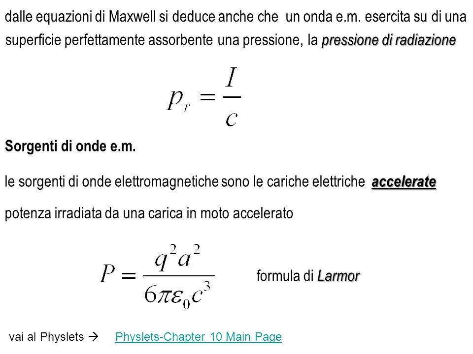 le sorgenti di onde elettromagnetiche sono le cariche elettriche Sorgenti di onde e.m.
