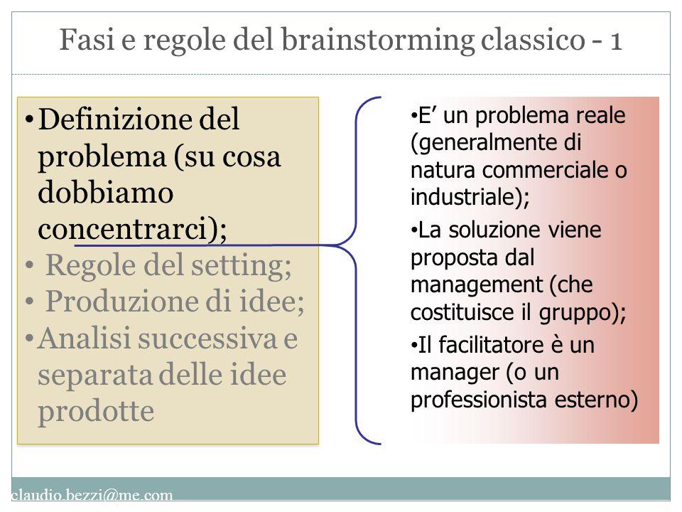 claudio.bezzi@me.com Fasi e regole del brainstorming classico - 1 Definizione del problema (su cosa dobbiamo concentrarci); Regole del setting; Produz
