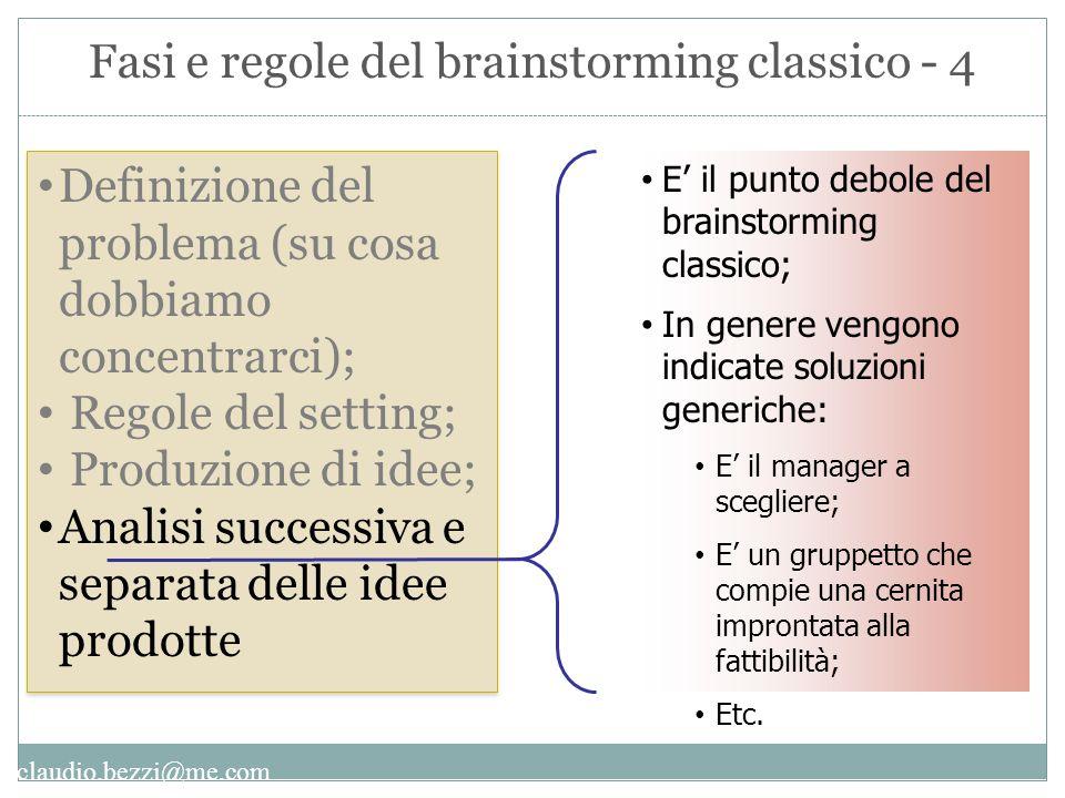 claudio.bezzi@me.com Definizione del problema (su cosa dobbiamo concentrarci); Regole del setting; Produzione di idee; Analisi successiva e separata d