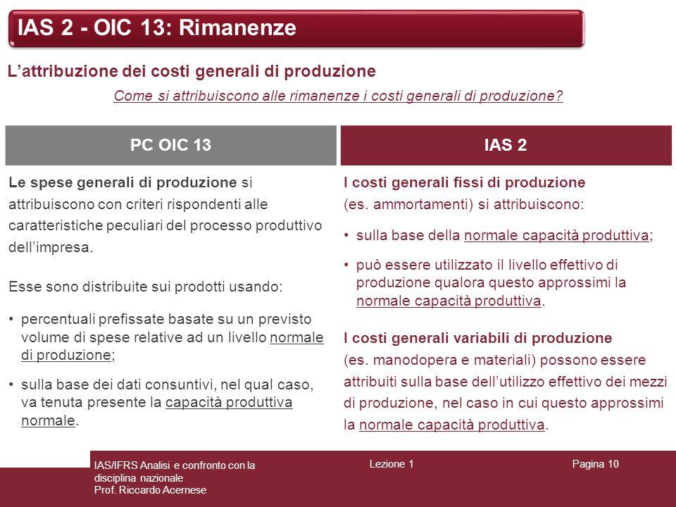 Lezione 1Pagina 10 IAS/IFRS Analisi e confronto con la disciplina nazionale Prof. Riccardo Acernese IAS 2 - OIC 13: Rimanenze L'attribuzione dei costi