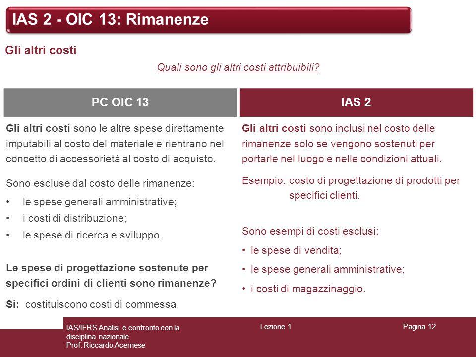 Lezione 1Pagina 12 IAS/IFRS Analisi e confronto con la disciplina nazionale Prof. Riccardo Acernese IAS 2 - OIC 13: Rimanenze Gli altri costi Quali so