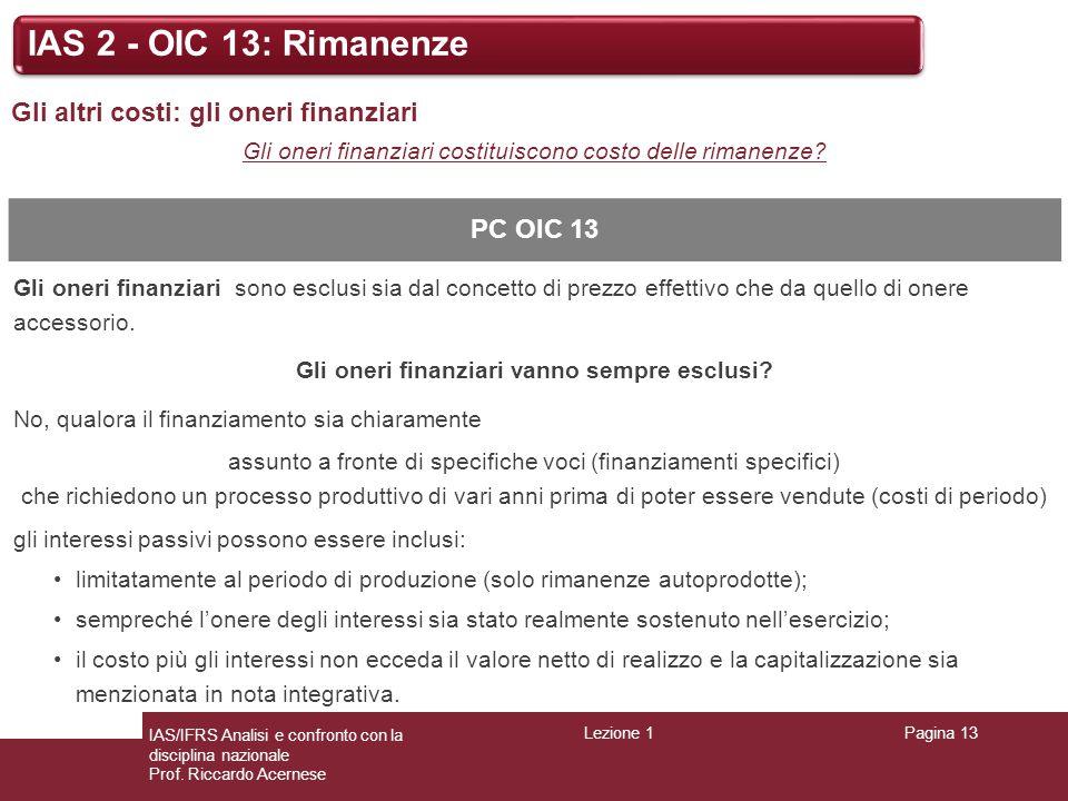 Lezione 1Pagina 13 IAS/IFRS Analisi e confronto con la disciplina nazionale Prof. Riccardo Acernese IAS 2 - OIC 13: Rimanenze Gli altri costi: gli one