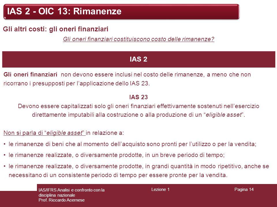 Lezione 1Pagina 14 IAS/IFRS Analisi e confronto con la disciplina nazionale Prof. Riccardo Acernese IAS 2 - OIC 13: Rimanenze Gli altri costi: gli one