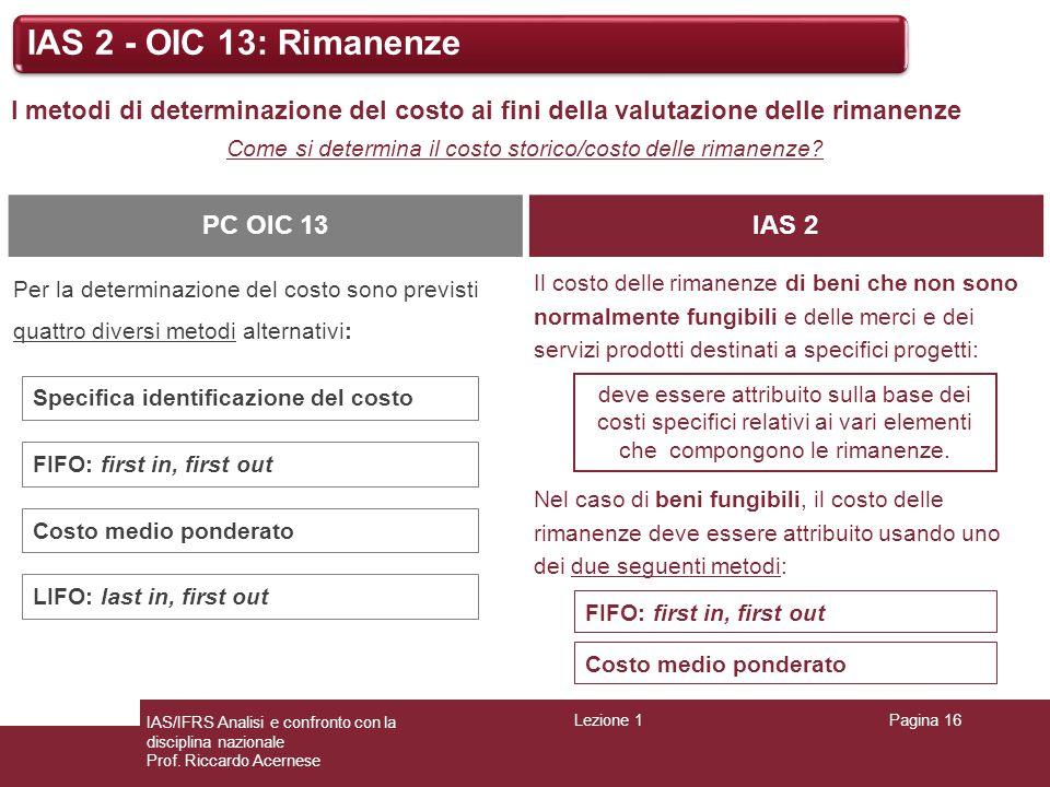 Lezione 1Pagina 16 IAS/IFRS Analisi e confronto con la disciplina nazionale Prof. Riccardo Acernese IAS 2 - OIC 13: Rimanenze I metodi di determinazio