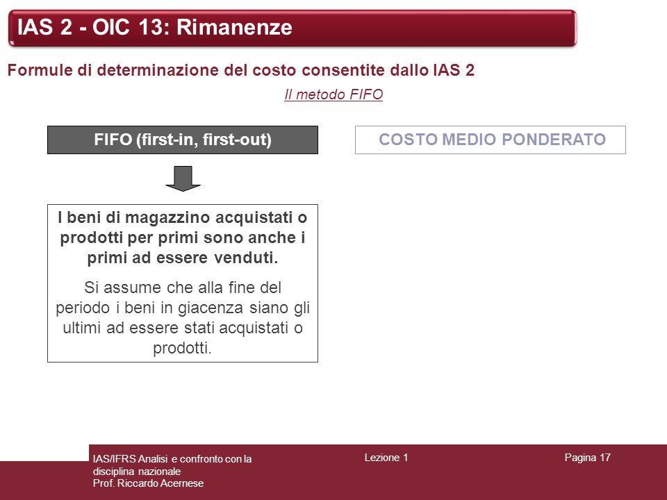 Lezione 1Pagina 17 IAS/IFRS Analisi e confronto con la disciplina nazionale Prof. Riccardo Acernese IAS 2 - OIC 13: Rimanenze Formule di determinazion