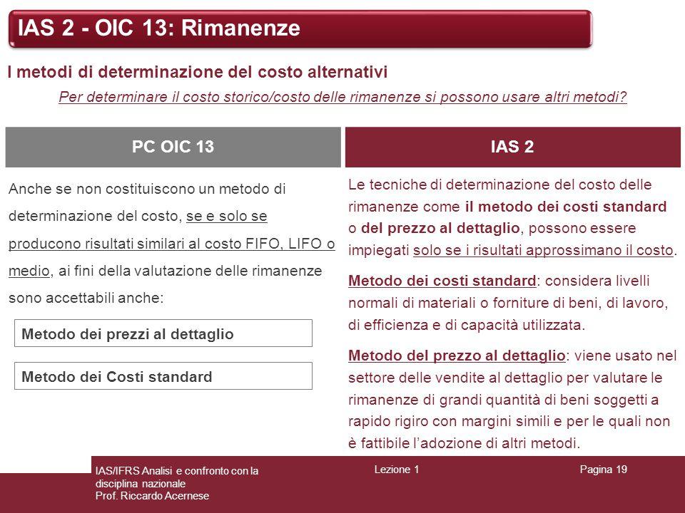 Lezione 1Pagina 19 IAS/IFRS Analisi e confronto con la disciplina nazionale Prof. Riccardo Acernese IAS 2 - OIC 13: Rimanenze I metodi di determinazio