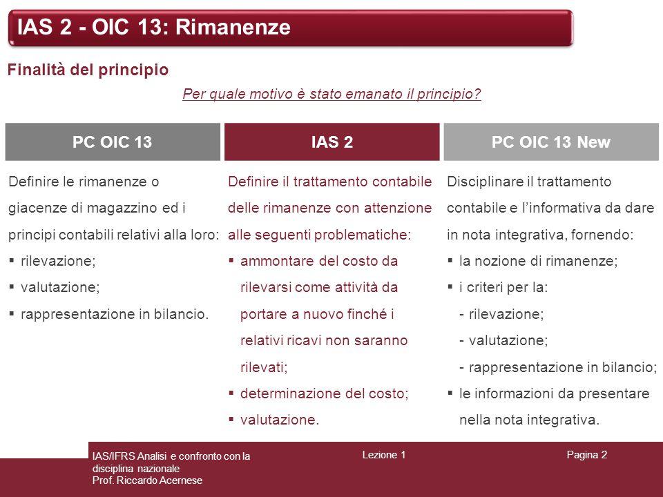 Lezione 1Pagina 2 IAS/IFRS Analisi e confronto con la disciplina nazionale Prof. Riccardo Acernese IAS 2 - OIC 13: Rimanenze Finalità del principio Pe