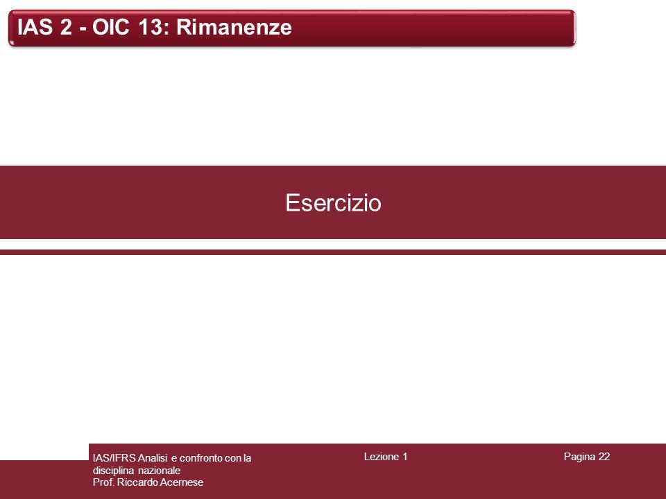 Lezione 1Pagina 22 IAS/IFRS Analisi e confronto con la disciplina nazionale Prof. Riccardo Acernese IAS 2 - OIC 13: Rimanenze Esercizio