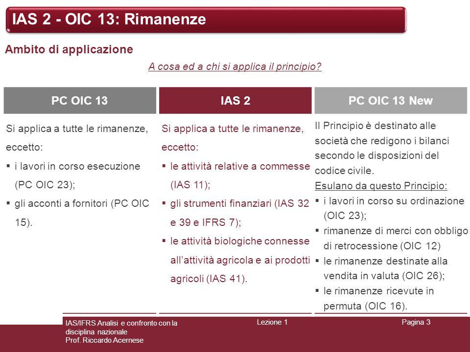 Lezione 1Pagina 3 IAS/IFRS Analisi e confronto con la disciplina nazionale Prof. Riccardo Acernese IAS 2 - OIC 13: Rimanenze Ambito di applicazione A