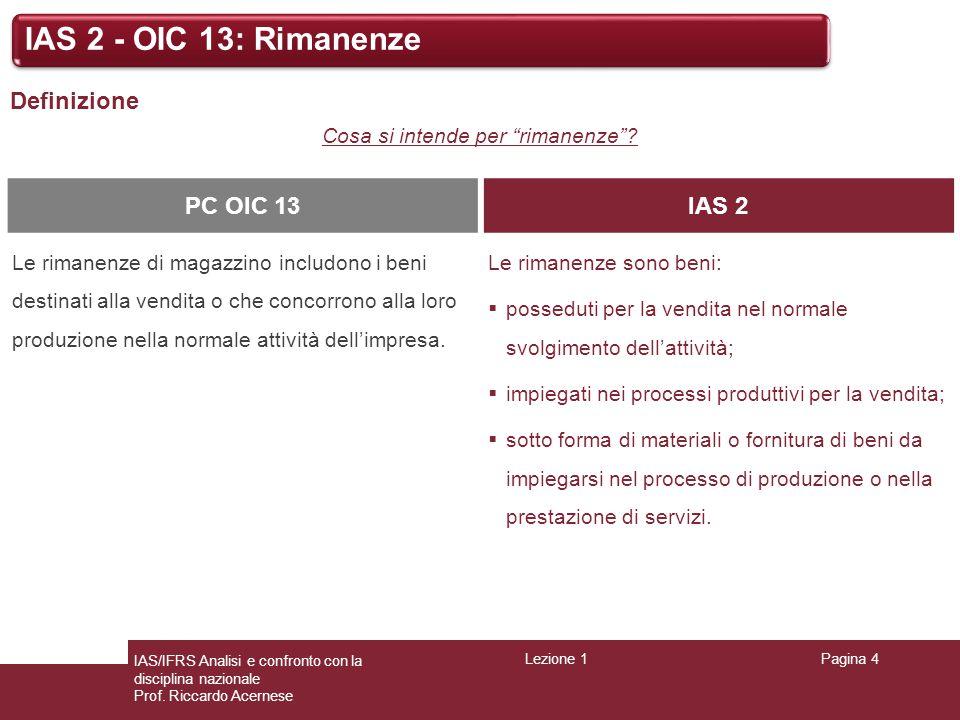 Lezione 1Pagina 4 IAS/IFRS Analisi e confronto con la disciplina nazionale Prof. Riccardo Acernese IAS 2 - OIC 13: Rimanenze Definizione Cosa si inten