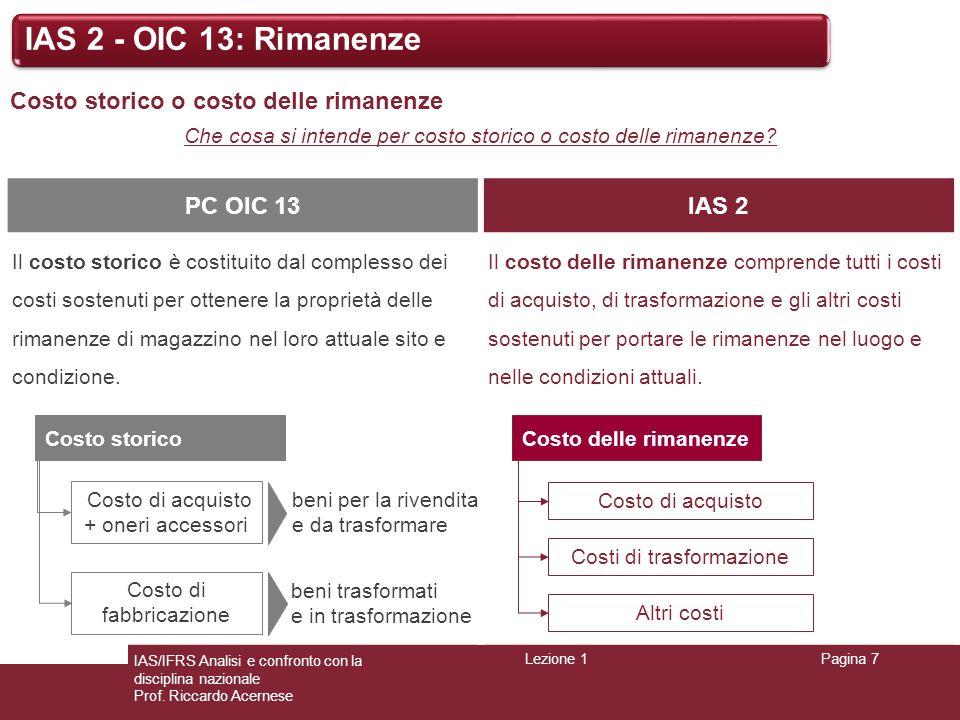 Lezione 1Pagina 7 IAS/IFRS Analisi e confronto con la disciplina nazionale Prof. Riccardo Acernese IAS 2 - OIC 13: Rimanenze Costo storico o costo del