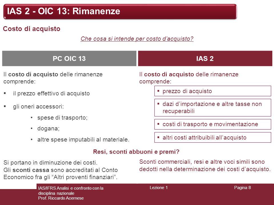 Lezione 1Pagina 8 IAS/IFRS Analisi e confronto con la disciplina nazionale Prof. Riccardo Acernese IAS 2 - OIC 13: Rimanenze Costo di acquisto Che cos