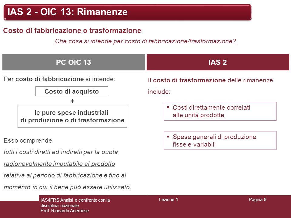 Lezione 1Pagina 9 IAS/IFRS Analisi e confronto con la disciplina nazionale Prof. Riccardo Acernese IAS 2 - OIC 13: Rimanenze Costo di fabbricazione o
