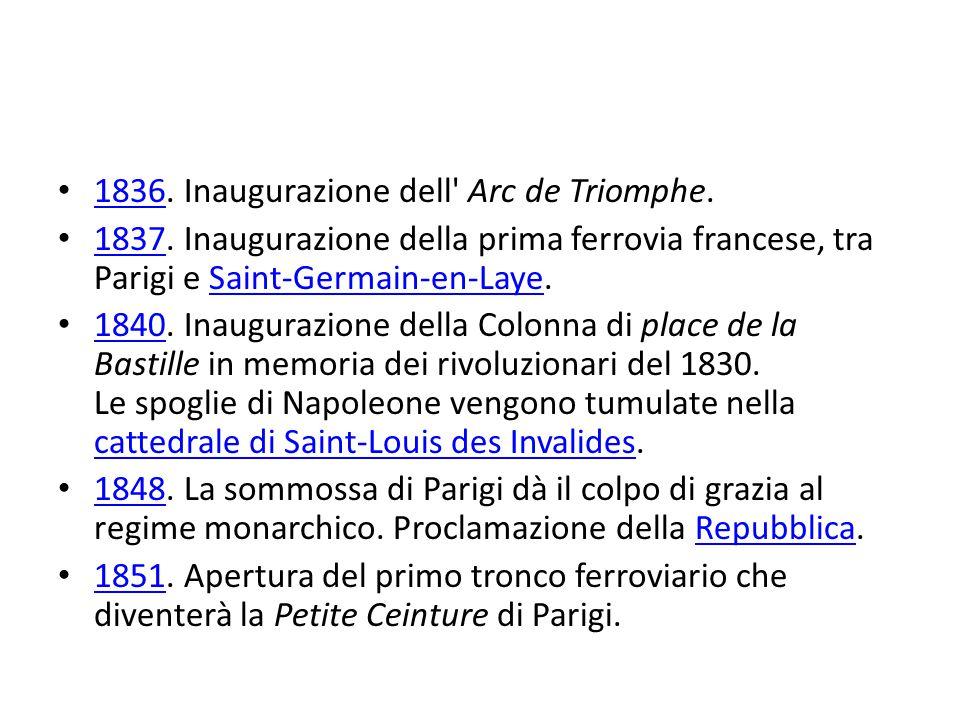 1836. Inaugurazione dell Arc de Triomphe. 1836 1837.