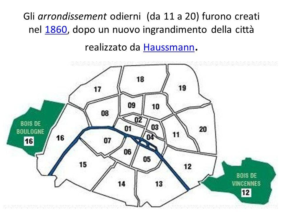 Gli arrondissement odierni (da 11 a 20) furono creati nel 1860, dopo un nuovo ingrandimento della città realizzato da Haussmann.1860Haussmann