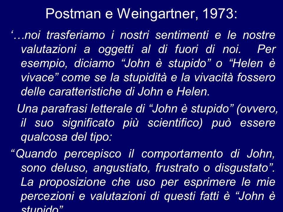 Postman e Weingartner, 1973: '…noi trasferiamo i nostri sentimenti e le nostre valutazioni a oggetti al di fuori di noi.