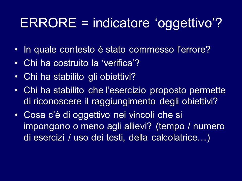 ERRORE = indicatore 'oggettivo'. In quale contesto è stato commesso l'errore.