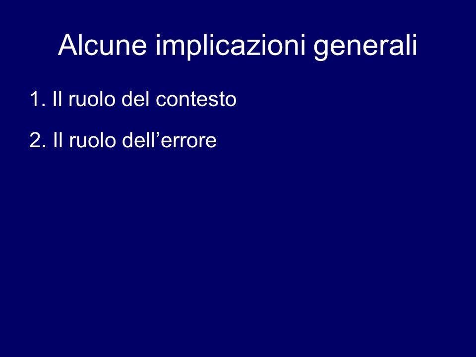 Alcune implicazioni generali 1. Il ruolo del contesto 2. Il ruolo dell'errore