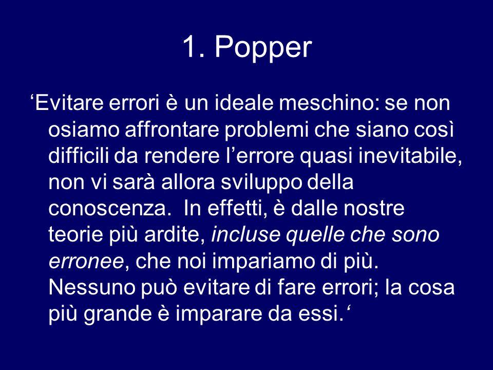 1. Popper 'Evitare errori è un ideale meschino: se non osiamo affrontare problemi che siano così difficili da rendere l'errore quasi inevitabile, non