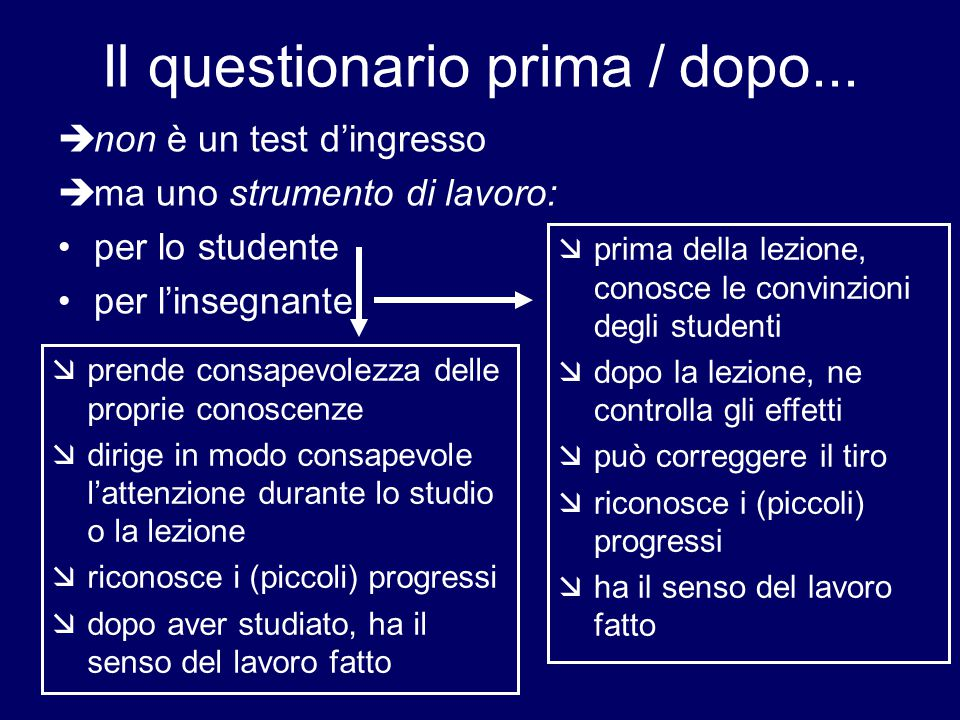 Il questionario prima / dopo...  non è un test d'ingresso  ma uno strumento di lavoro: per lo studente per l'insegnante  prende consapevolezza dell