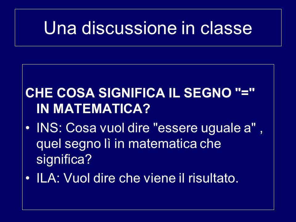 Una discussione in classe CHE COSA SIGNIFICA IL SEGNO = IN MATEMATICA.