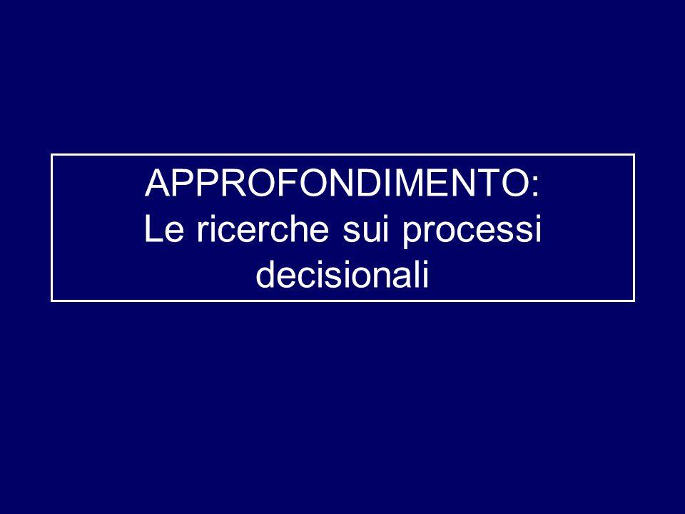 APPROFONDIMENTO: Le ricerche sui processi decisionali