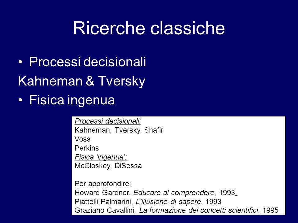 Ricerche classiche Processi decisionali Kahneman & Tversky Fisica ingenua Processi decisionali: Kahneman, Tversky, Shafir Voss Perkins Fisica 'ingenua': McCloskey, DiSessa Per approfondire: Howard Gardner, Educare al comprendere, 1993 Piattelli Palmarini, L'illusione di sapere, 1993 Graziano Cavallini, La formazione dei concetti scientifici, 1995