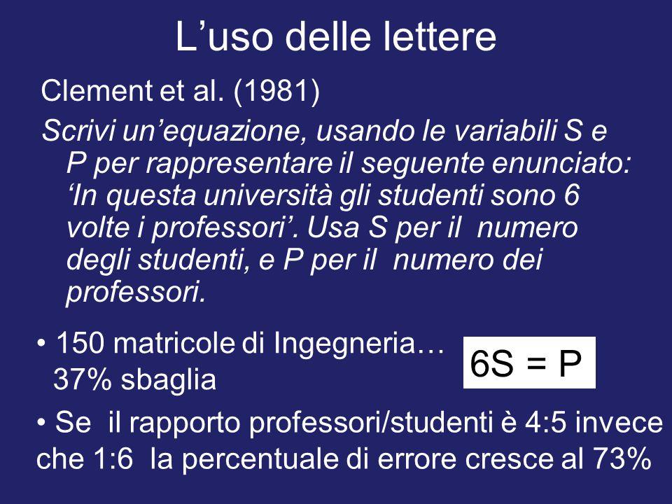 L'uso delle lettere Clement et al. (1981) Scrivi un'equazione, usando le variabili S e P per rappresentare il seguente enunciato: 'In questa universit
